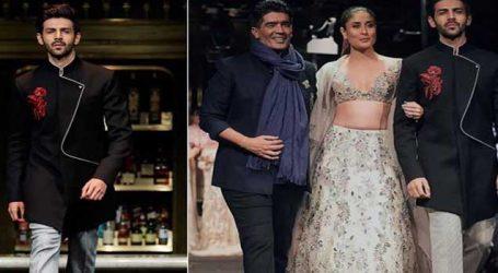 Kartik walks ramp with Kareena at a Manish Malhotra show in Singapore