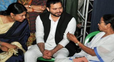Tejashwi, Kanimozhi Arrive in Kolkata to support Mamata Banerjee's Dharna